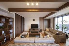 LDKは27.5帖の大きなリビングになります。 床にはウォールナット自然塗料(オスモ)仕上げの床材。