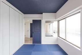 和室はカラー畳の青を使いました。