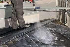 外壁は勿論、屋根カバー工法する際も バイオ高圧洗浄を行い綺麗にしてから カバー工法を行います‼︎