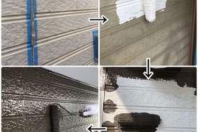 シーリングの打ち替えを行い 下・中・上塗りと手塗りで3回行います。