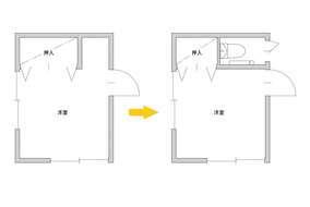 2階洋室の収納スペースを少し小さくして、トイレスペースを新たに設け、廊下から入れるようにしました。