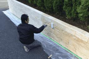 撥水材 エスケー化研ミクロンガード施工中