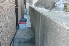 施工後 ①既存壁高圧洗浄 ②コンクリ-ト蓋設置 ③コンクリ-ト打設