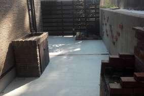 施工後 ①既存壁高圧洗浄 ②ガ-デンシンク設置 ③コンクリ-ト打設 ④既存壁張りレンガ