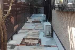 施工後 ①樹脂フェンス設置 ②アプロ-チ照明設置 ③コンクリ-ト打設 ④レンガ見切り+平板敷