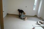 床屋さんカーペット施工中です。あと少し。
