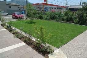 芝生を貼り、シンボルツリーを植えました。