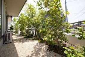低木や下草ののまわりに、防草用の樹皮でできたマルチング材を敷き詰めました