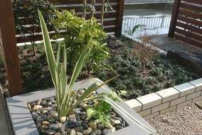 自然石や和の植物の中にもモダン要素をとりいれました