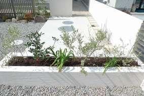 玄関に続く動線に浄化槽があったのでどうやって庭に馴染ませるか?というところから設計が始まりました