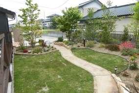 芝の縁は芝止め材を使い芝の広がりを抑えてあります。