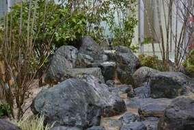 いわきの渓谷を中庭に作庭。