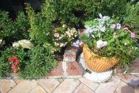 花壇や鉢にもネコの置物を置いたりと細やかな気づかいも忘れません。