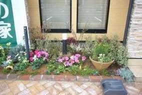中央左の花壇。 赤い葉がオカメナンテン、白い葉がスルバープリペット。寄せ植鉢を置き雰囲気を変えてます