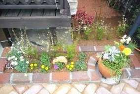 右端の花壇です。 枡がありましたので、フタの上に寄せ植え鉢を置きました。