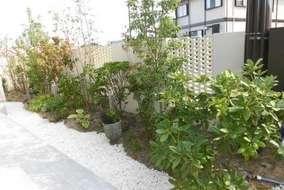 飾り塀裏側の植栽になります。 砂利は寒水石を使用しました。