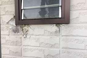 サッシまわりの外壁が 水を吸い腐食してしまっているため この一部分を張替え。
