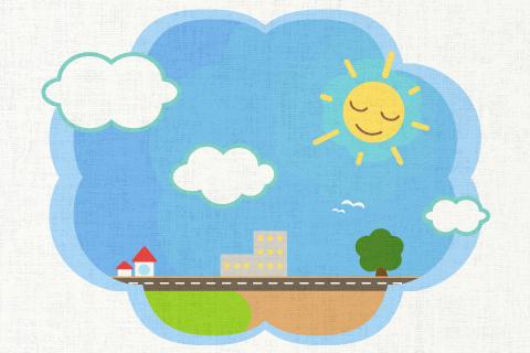 今日はいい天気だ。の英作文 問題 イラストを参考に英文を答えましょう。様々な表現がありますが、I