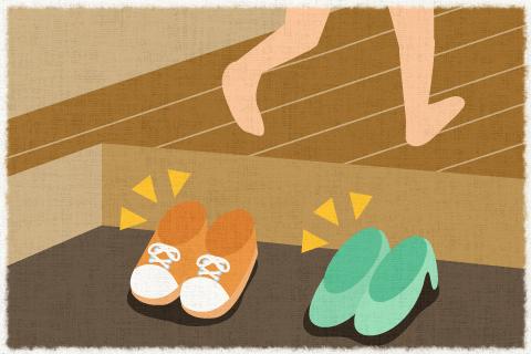 日本では、家に入る時靴を脱ぐのが習慣です。の英作... 英語で'日本では、家に入る時靴