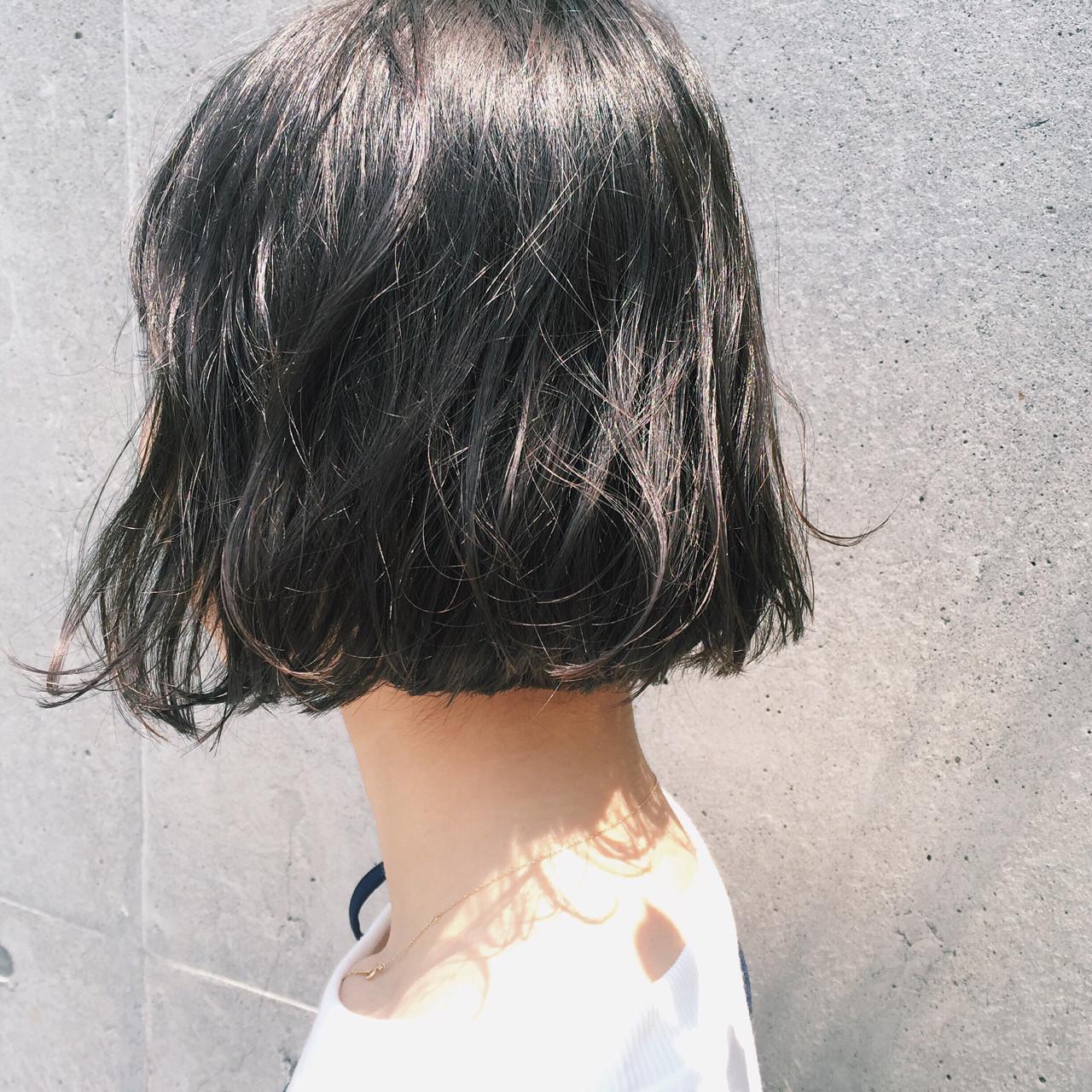 黒髪 ボブ 切りっぱなし パーマ