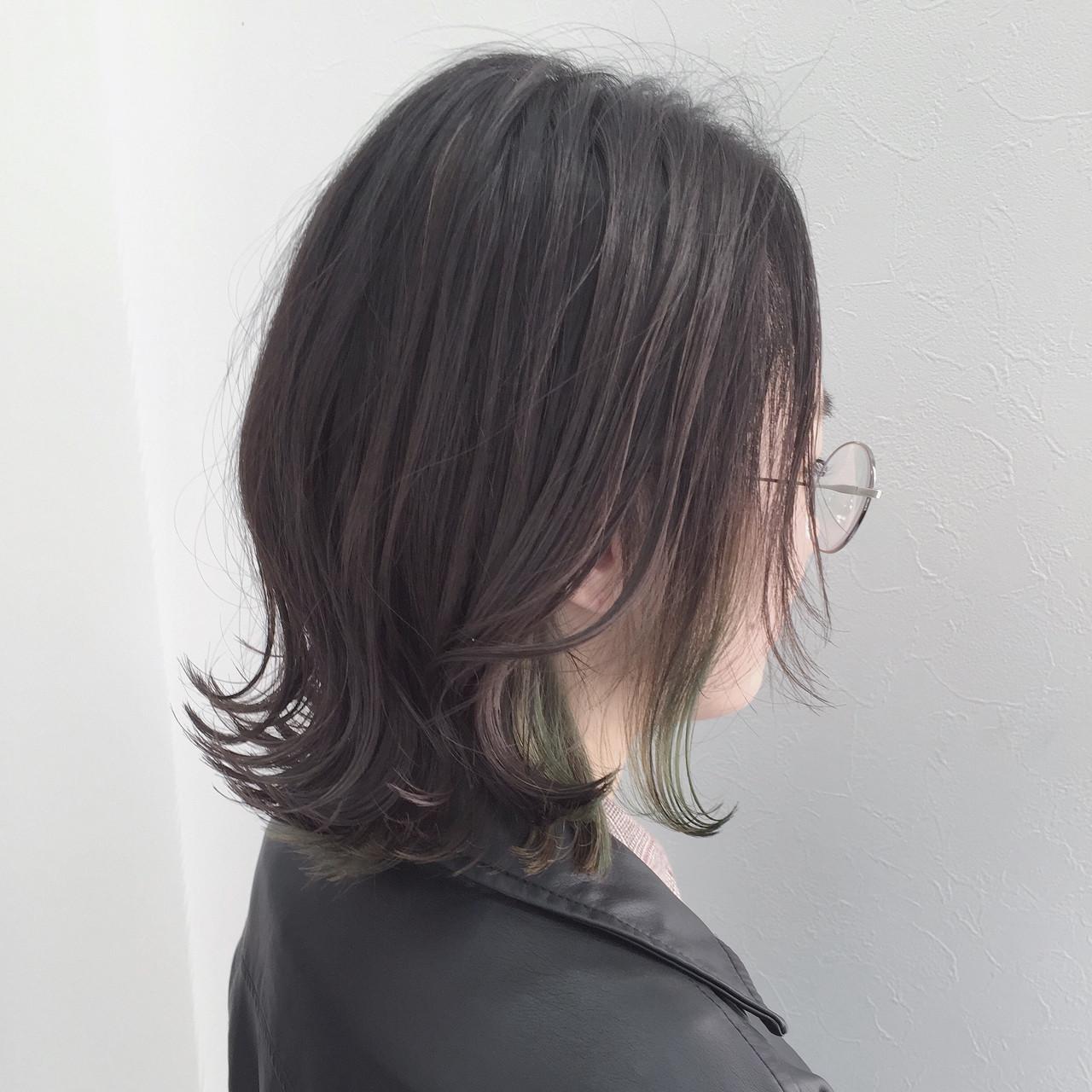 黒髪 ポイントカラー ショート
