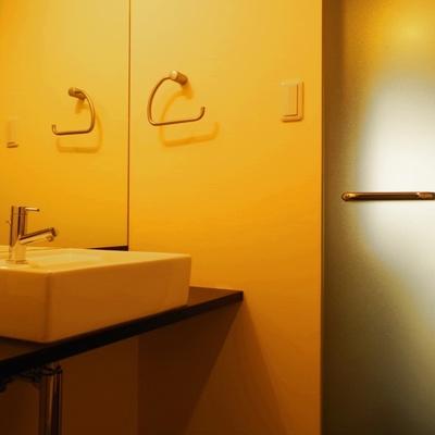 ガラスドアと陶器の洗面器。美しい。