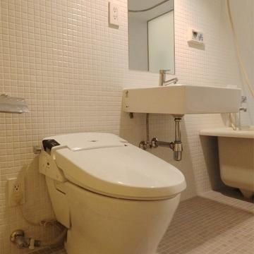 洗面台とトイレ。※画像の反転