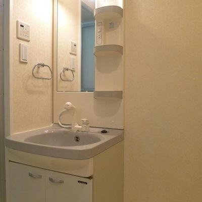 洗面所のスペースもゆったりで、隣には洗濯機置き場があります。