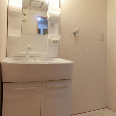洗面台の右に洗濯置き場があります