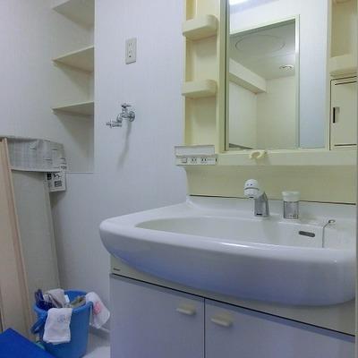 大きめの洗面台に収納も多い脱衣所ですね