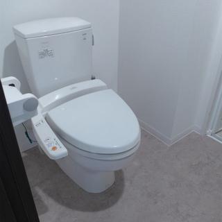 トイレはウォシュレット付き。洗面台と同室です。