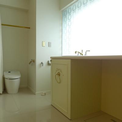 洗面台とトイレは同じ空間。明るい!