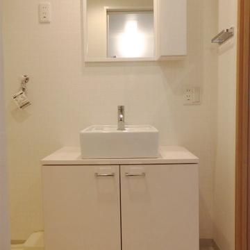 ちょこんと、洗面台。鏡の隣は収納です。