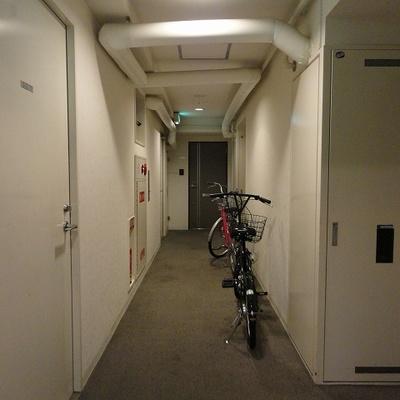 共有廊下に自転車