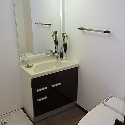 洗面台は大きめの鏡一枚。※写真は別室です