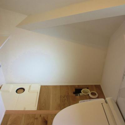 脱衣スペース兼トイレ。奥に洗濯機を置く感じ