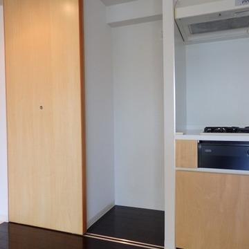 冷蔵庫、洗濯機がこの扉で隠せます。(写真は別室です)