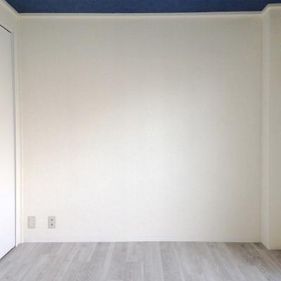 こちらのお部屋は4.5帖と少し狭め。天井は青。