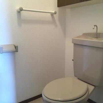 トイレには小さな収納棚があります。