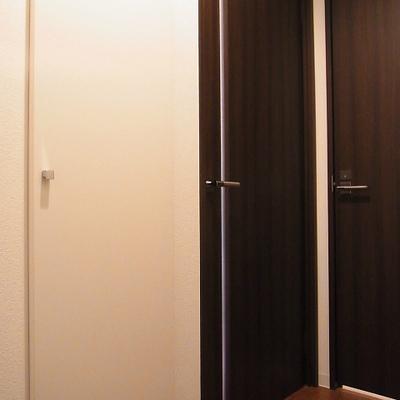 手前の白い扉がシューズボックスです