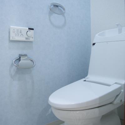 トイレの壁紙は淡いブルーだ!!※写真反転の別タイプ