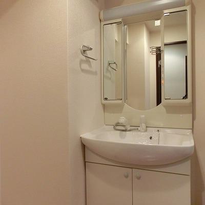 鏡のカタチが可愛らしいシャワーノズルのある洗面台