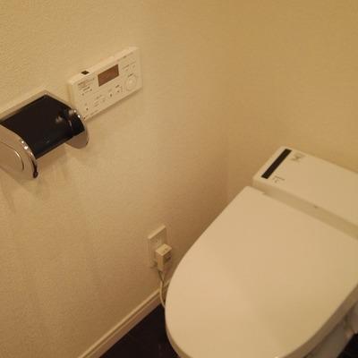 洗面台の斜め後ろに壁を挟んでトイレです※画像は別部屋