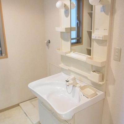 洗面台もきれいで小物入れも多いので使いやすそうです。