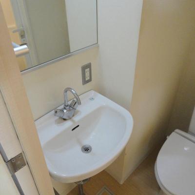 洗面台とトイレは一緒です。※写真は別部屋