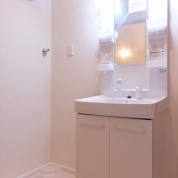 独立洗面台もあり、ここが脱衣スペースにもなります。