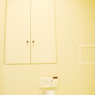 トイレの横にも収納棚。
