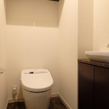 トイレにもミニ洗面台が付いています