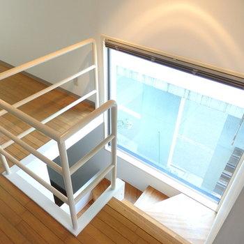 1、2階と繋がりの感じる空間に。ブラインドが閉められます。