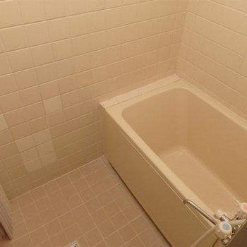 お風呂。昭和チックなタイルですが清潔感あり